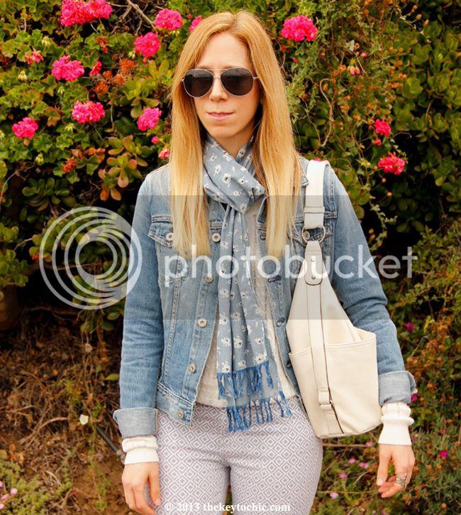 AJ jeans Robyn denim jacket, AG Jeans Liberty of London floral scarf, AG Jeans the legging ankle basket weave skinny jeans, Merona hobo bag, Los Angeles fashion blogger