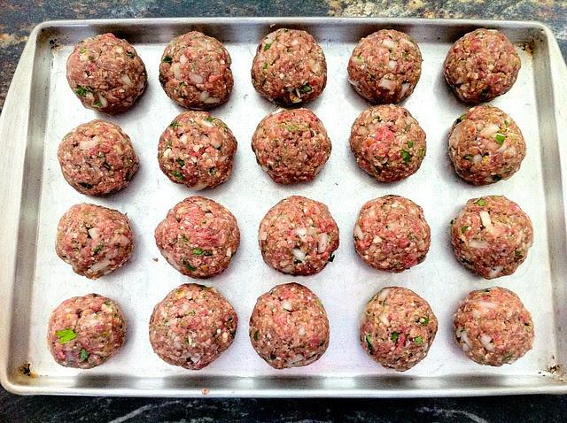 Meatballs Formed on Baking Sheet