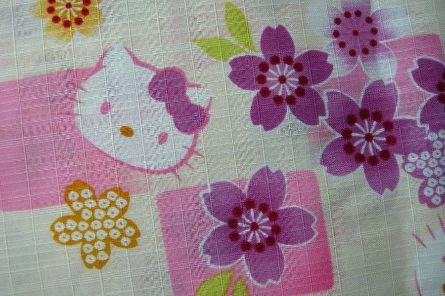 Japanese Cotton Fabric - Hello Kitty and Flowers (C)
