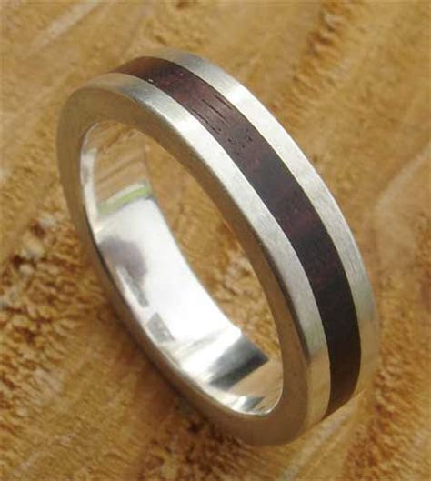 Wooden Inlay Sterling Silver Ring : LOVE2HAVE in the UK!