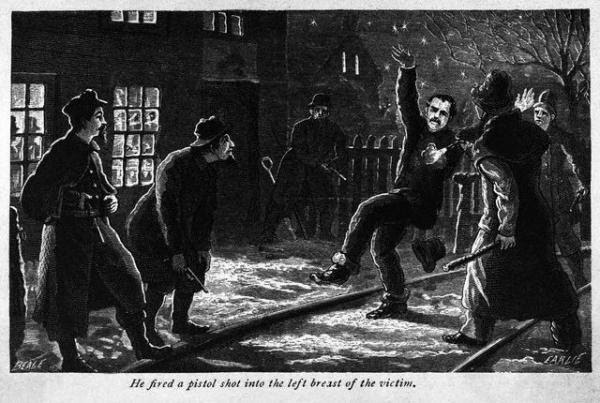 Illustration shows Molly Maguire victim murdered by gang. Woodcut, 1877.