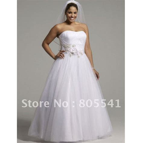 NEW! A line Strapless Simple White Tulle Satin Cheap Plus