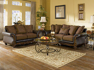 Ashley Furniture Wilmington Walnut Living Room Set Sofa Loveseat ...