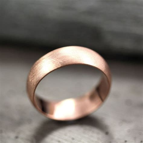 Mens Wedding Band 6mm Wide Brushed Half Round 14k Recycled