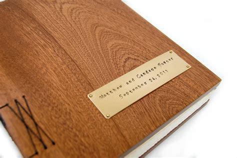Handmade Mahogany Guest Book With Wood Covers   Custom