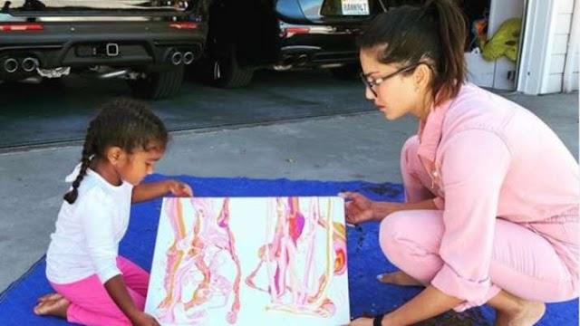 सनी लियोनी ने बेटी निशा के साथ की पेंटिंग, शेयर की तस्वीर