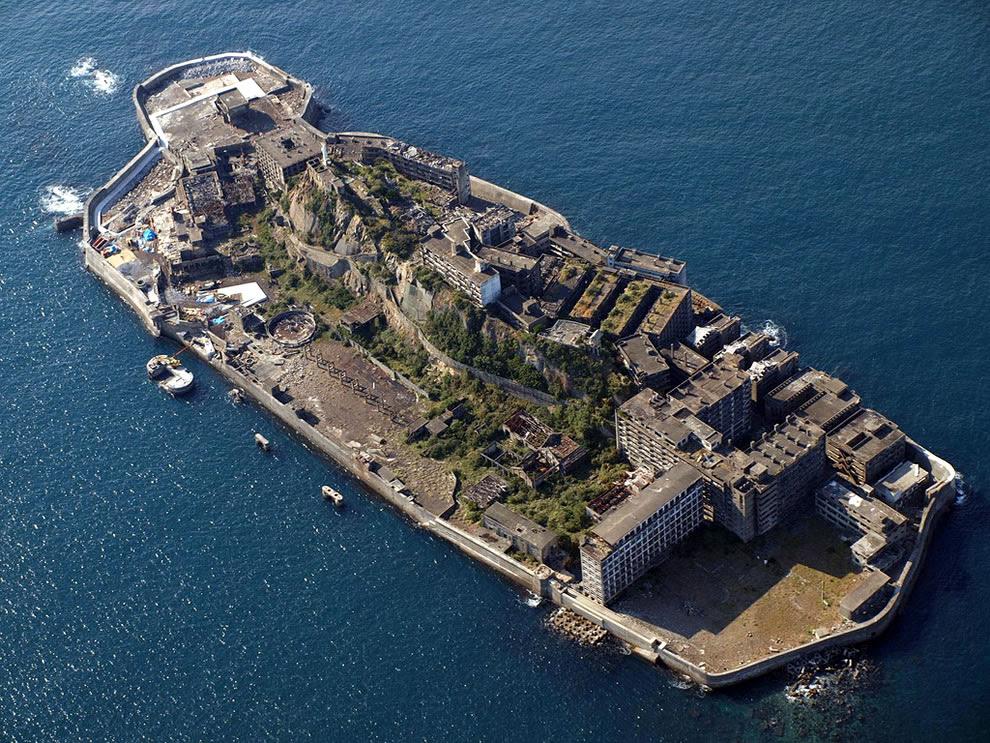 Aerial view of Battleship Island, Gunkanjima, abandoned island in James Bond Skyfall