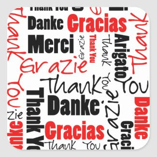 Black and Red Thank You Word Cloud Sticker