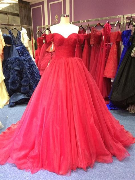 Ball Gown Off Shoulder Sleeves Wine Red Prom Dress