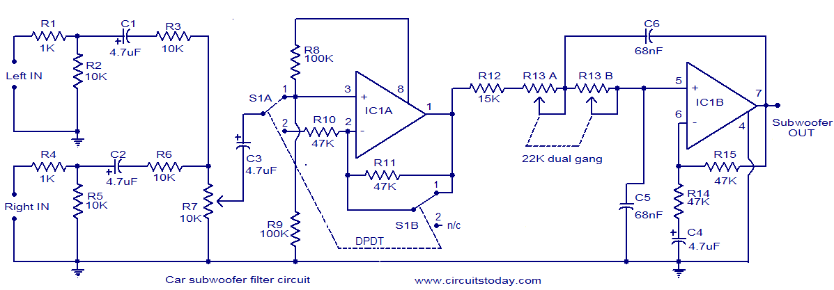 car subwoofer filter circuit