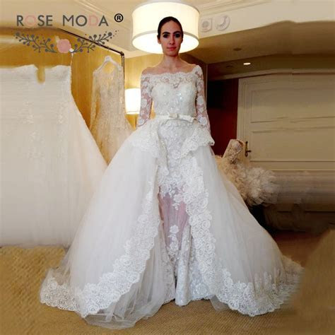 Off the Shoulder Three Quarter Sleeves Lace Sheath Wedding
