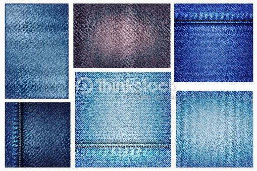 ポケットやテクスチャの Border 要素とジーンズ イラスト青いデニムの