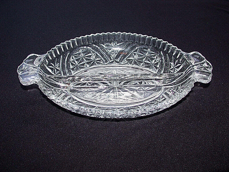 Lovely Vintage Depression Clear Pattern Glass Two Section ...