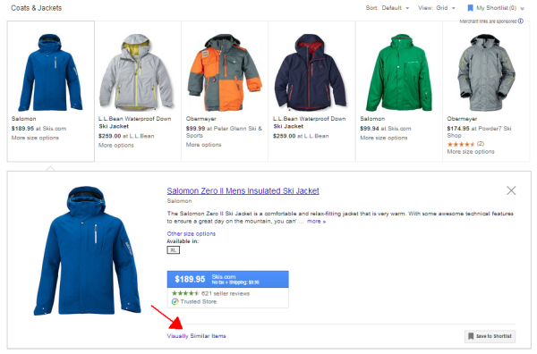 google shopping detail results visually similar