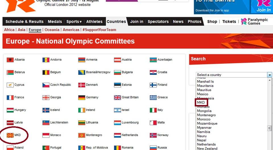mkd olympiakoi agones Νέο Φιάσκο της ΕΟΕ   Ως MKD τα Σκόπια στην Ιστοσελίδα των Ολυμπιακών Αγώνων