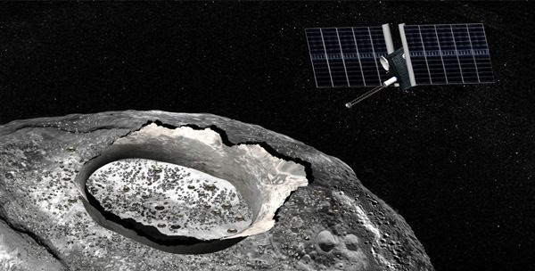 An artist's concept of the Psyche spacecraft orbiting a metallic asteroid named Psyche.