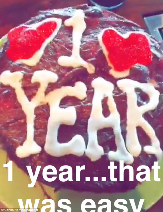 'That was easy': Calvin Harris took to Snapchat on Sunday to share a video of himself presenting their heart-themed one year anniversary cake