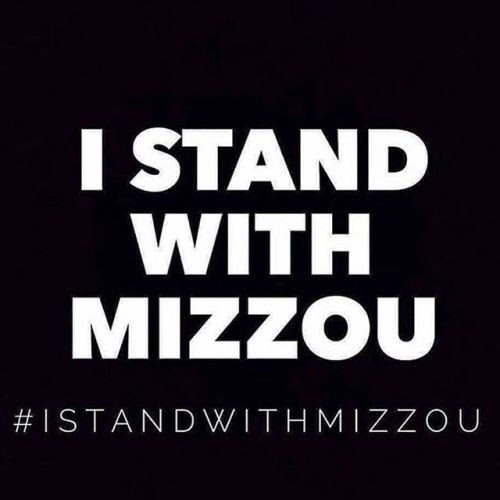 "White text on black background: ""I stand with Mizzou; #IStandWithMizzou"""