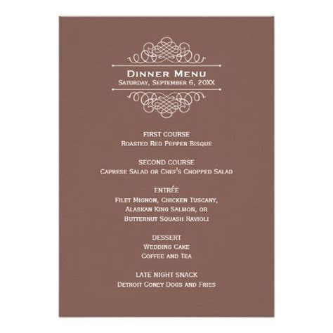 Wedding Dinner Menu Card   Chocolate Brown   Zazzle.com