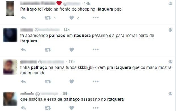 Usuários do Twiter falam sobre aparição de palhaço em Itaquera, Zona Leste de São Paulo (Foto: Reprodução/Twitter)