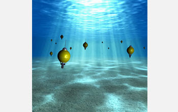 Illustration showing autonomous underwater explorers that will provide new oceanic information.