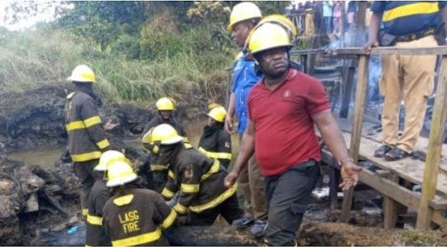 Photos Of Emergency Workers At Lagos Pipeline Explosion Scene