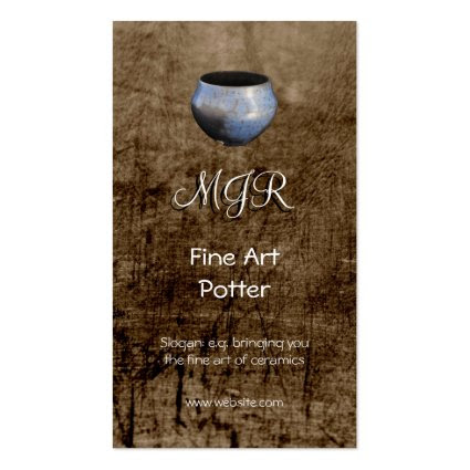 Monogram, Fine Art Potter, leather-effect Business Cards