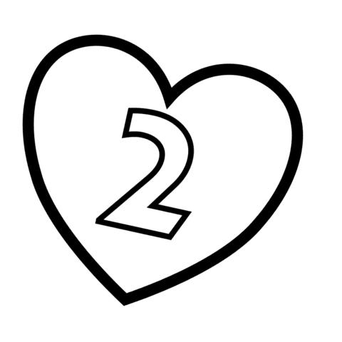 Dibujo De Número 2 En Un Corazón Para Colorear Dibujos Para