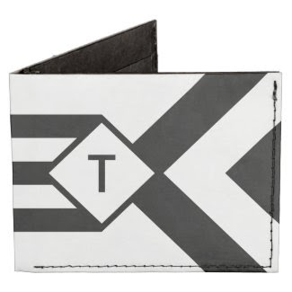 Black Stripes and Chevrons with Monogram on White Billfold Wallet