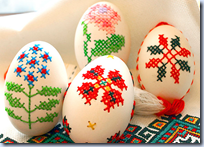 cross-stiched eggs