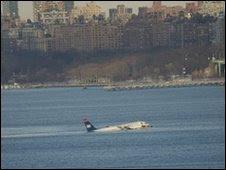 A plane crash-lands in New York. Photo: Nigel Baker