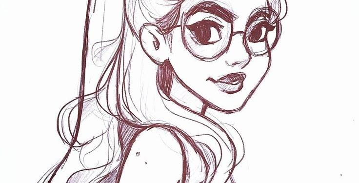 Cartoon Easy Sketch Cute Girl Drawings