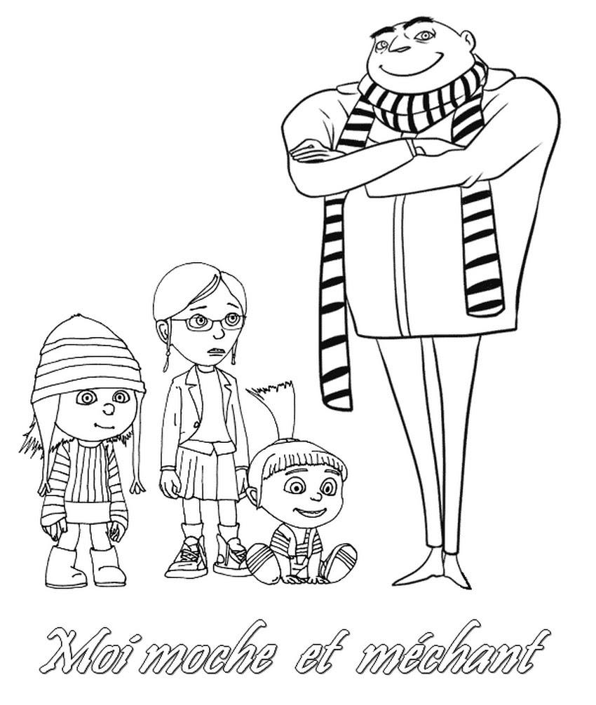coloriage moche et mechant la famille gru