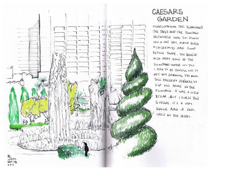 MJ SKETCHBOOK | Urban Sketching - Las Vegas - Caesars Palace Garden