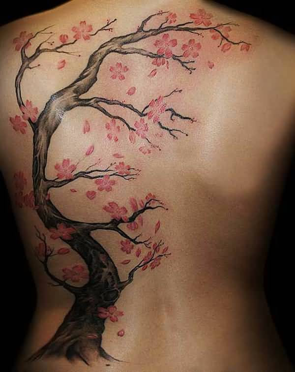 Girl Full Back Cherry Blossom Tattoos