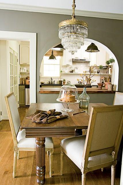 Gray dining room: Farrow & Ball 'Sierra Night' + crystal chandelier + traditional furniture