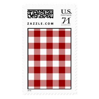 Red and White Gingham Pattern – Large Postage Stamp