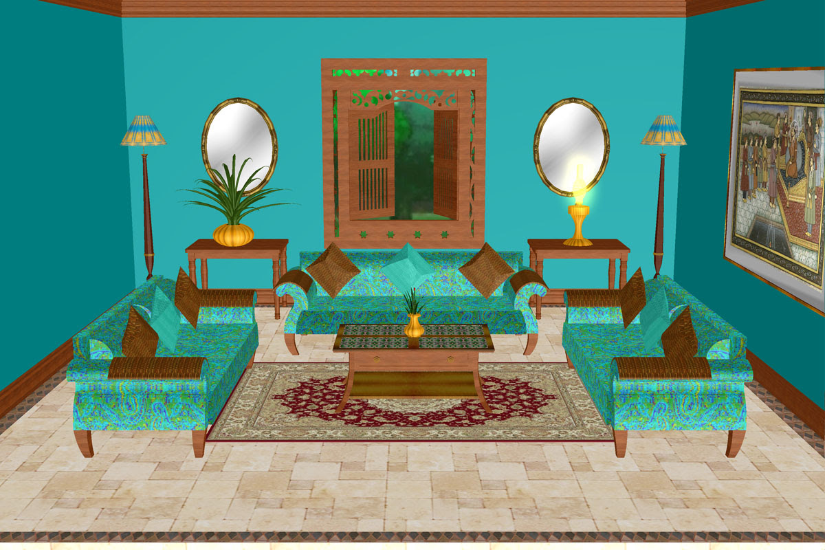 Turquoise Lounge Room