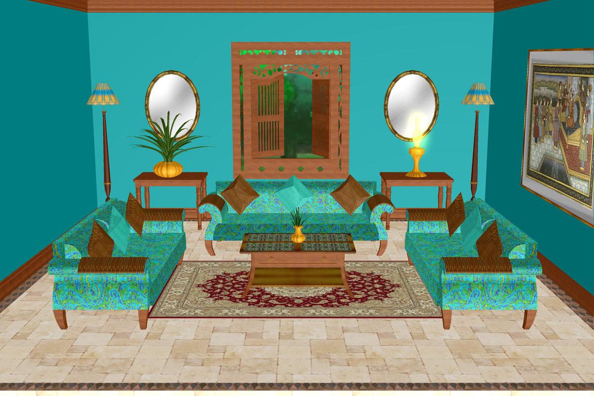 Turquoise Lounge Room