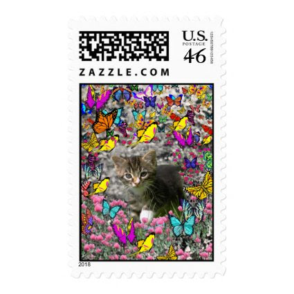 Emma in Butterflies I - Gray Tabby Kitten Postage Stamp