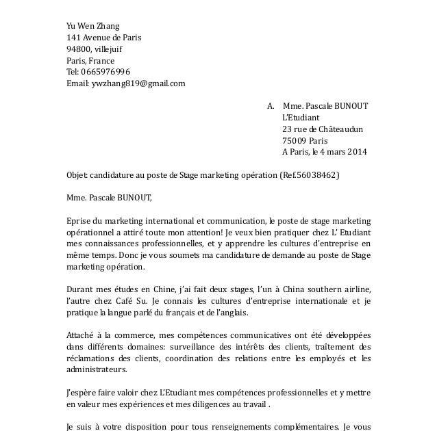 Lettre De Motivation Marketing - Perodua g