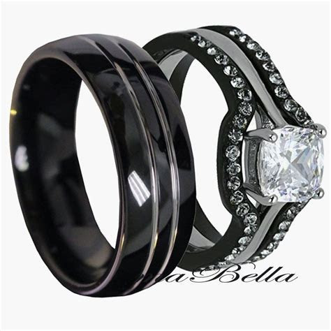 His Tungsten & Hers Black Stainless Steel 4 Pc Wedding