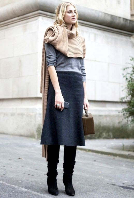 Le Fashion Blog Street Style Turtleneck Sweater Scarf Grey Sweater Mark Cross Box Bag Midi Skirt Suede Knee High Boots Work Fall Winter Style Via Who What Wear