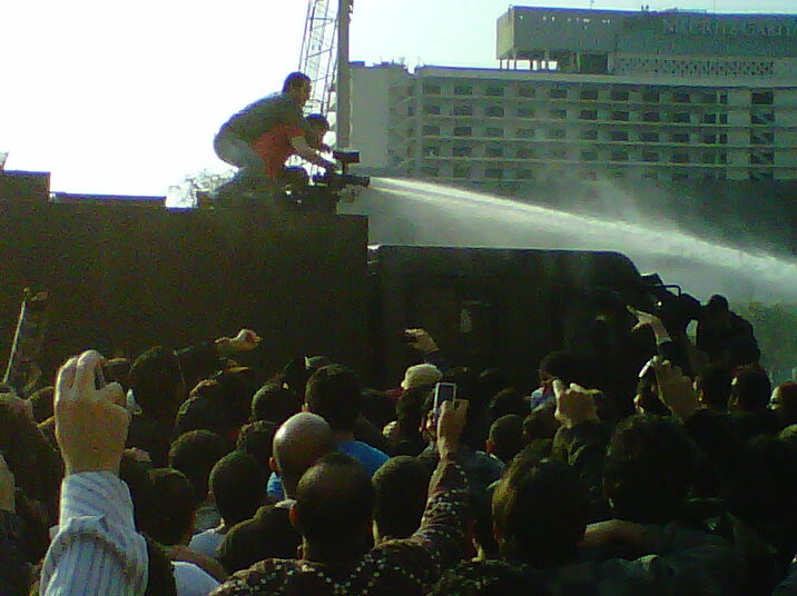 Day of Anger protestors on water cannon