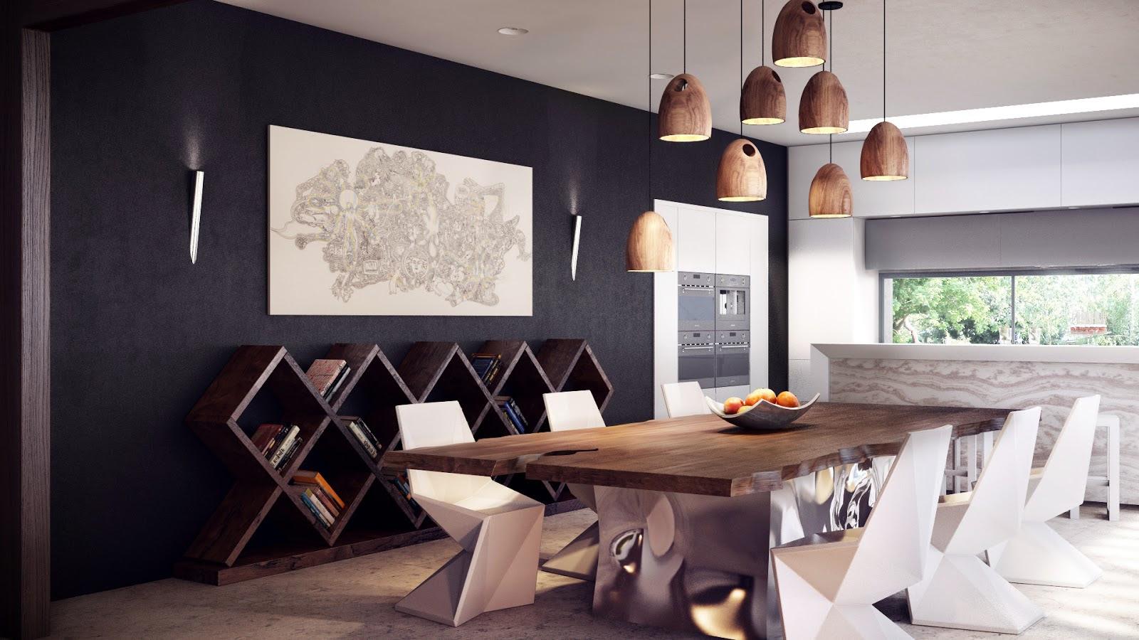 rustic modern dining table | Interior Design Ideas.