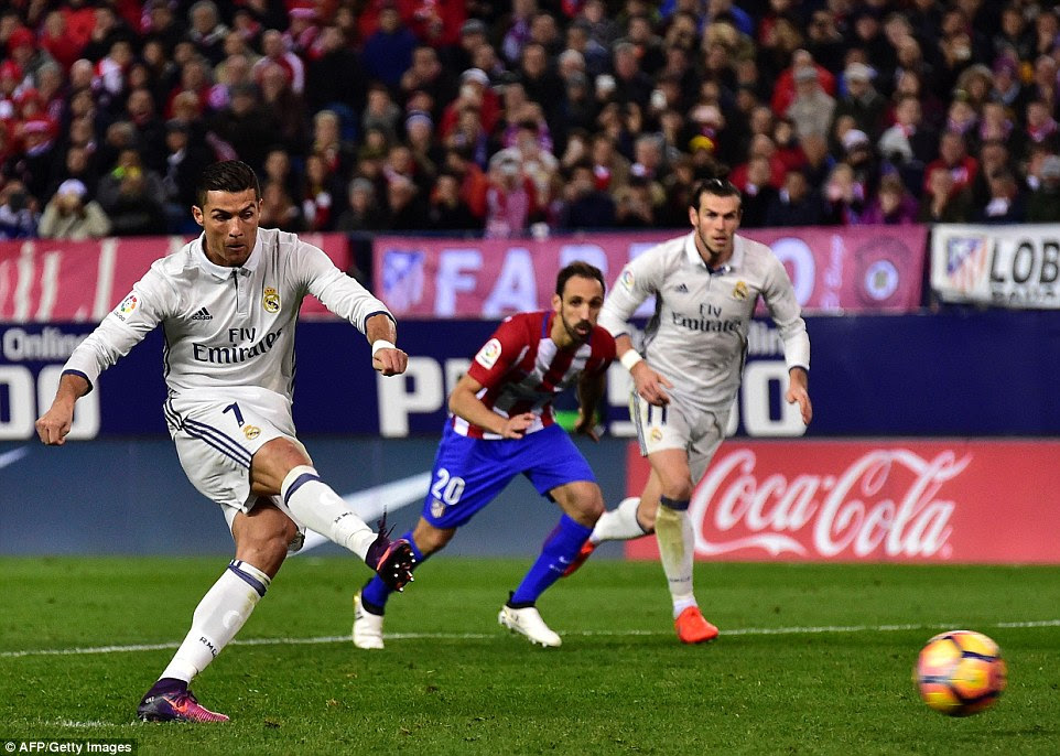 Ronaldo sent his penalty kick low beyond the goalkeeper as Real soared to a fifth successive win in the league