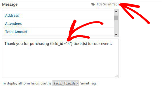 Custom Message for Tickets