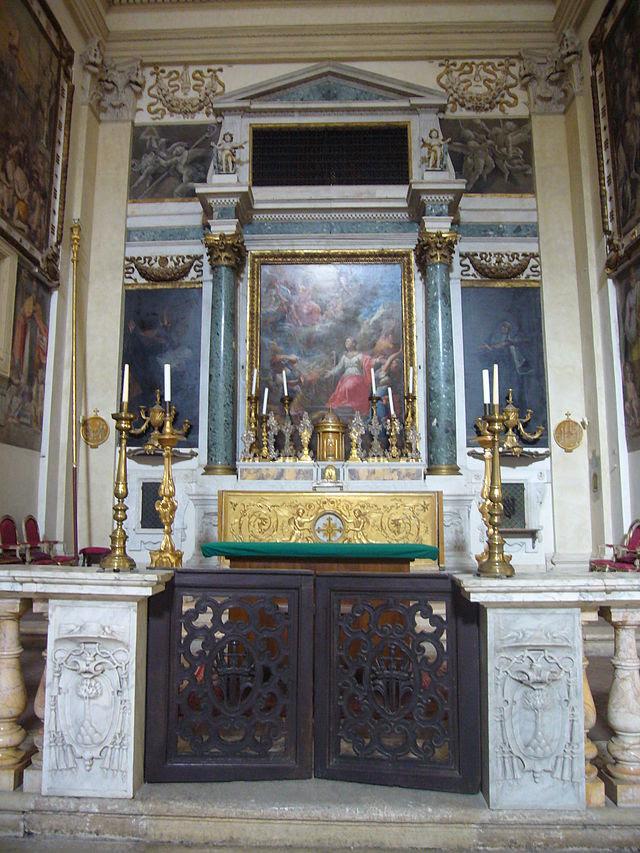S Angelo - Caterina dei Funari s - capp Cesi altare maggiore di gloria s Caterina (Sorbi 1760) 1200036.JPG