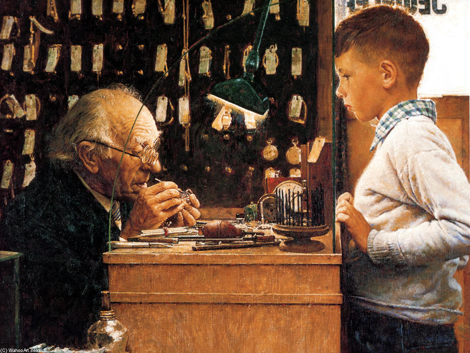 The watchmaker of Switzerland by Norman Rockwell (1894-1978, United States)