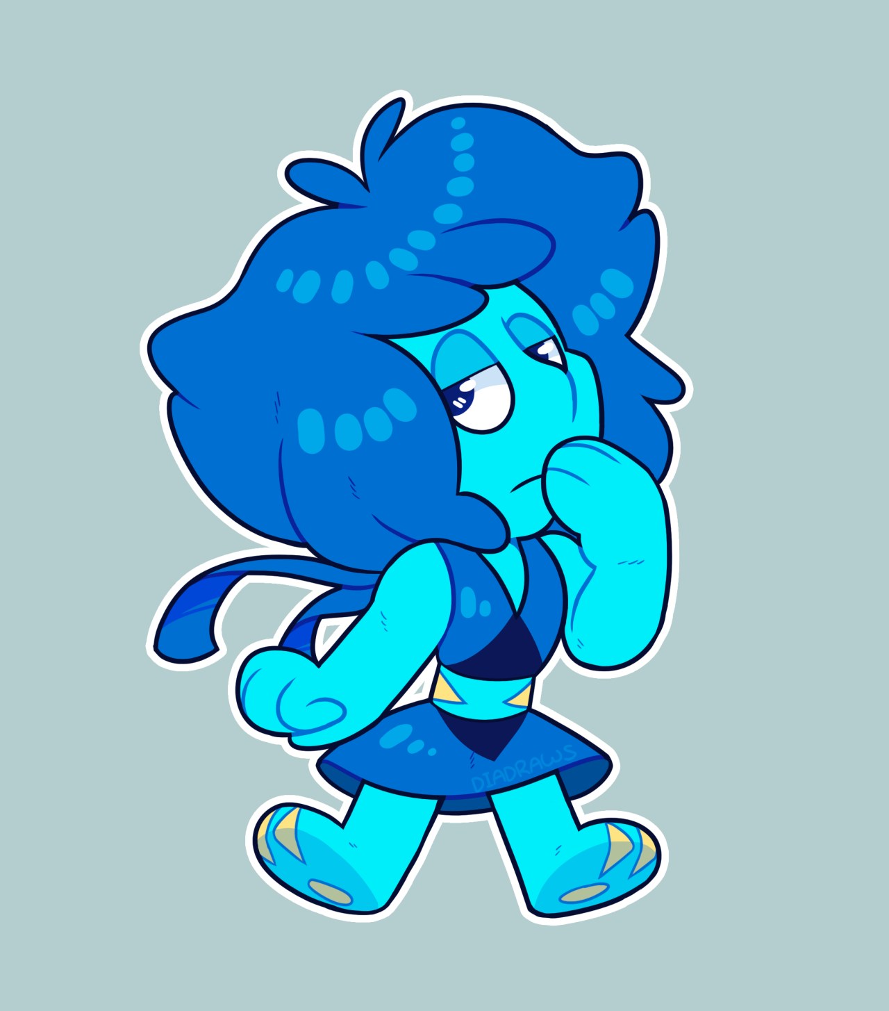 reposting those chibi lapis and peridot because i drew an accompanying jasper! ★ AVAILABLE ON REDBUBBLE (stickers!) ★